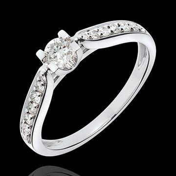 Bague de Fiançailles Solitaire Comtesse - diamant 0.18 carat - or blanc 18 carats