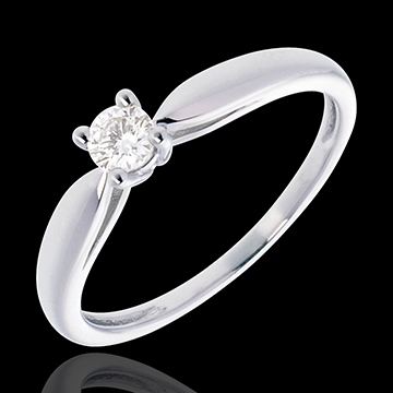 Solitaire roseau or blanc 18 carats - 0.16 carat