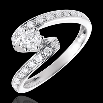 Bague de fiancailles or blanc diamant