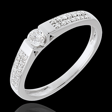 Solitaire arche or blanc 18 carats pavé - 0.12 carat - 29 diamants