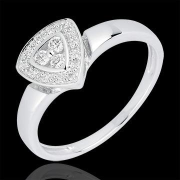 Bague Cinéma or blanc 18 carats et diamants