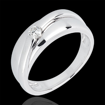 Bague solitaire diamant Hestia or blanc 18 carats