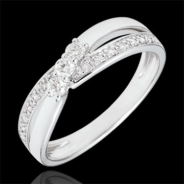 Bague de fiançailles Trilogie Nid Précieux - Auréa - or blanc 9 carats - 0.18 carat