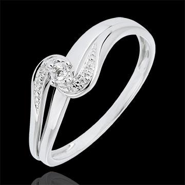 Bague Solitaire accompagné Nid Précieux - Sophia - or blanc 9 carats - diamant 0.013 carat