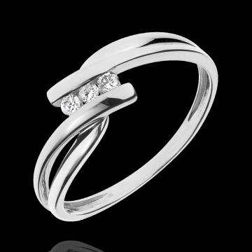 Bague trilogie Nid Précieux - Tango - diamant 0.07 carat - or blanc et or jaune 9 carats