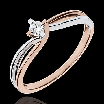 Bague Nid Précieux - Claire - diamant 0.11 carat - or blanc et or rose 18 carats