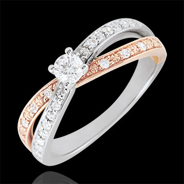 Bague Solitaire Saturne Duo double diamant 0.15 carat - or blanc et or rose 9 carats