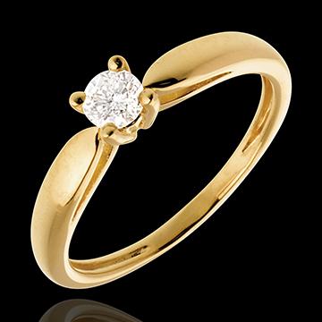 Solitaire roseau or jaune 18 carats - 0.21 carat