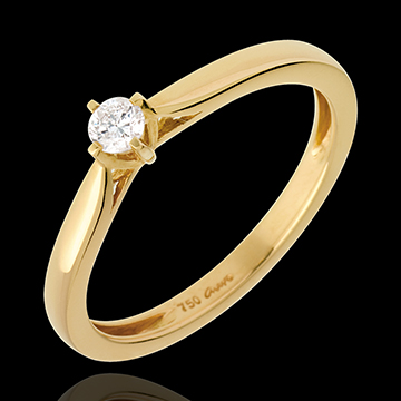 Solitaire Allure - diamant 0.11 carat - or jaune 18 carats