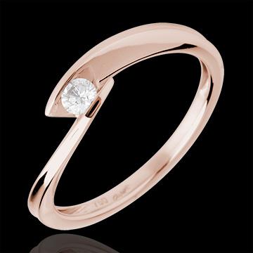 Solitaire calanque or rose 18 carats - diamant 0.11 carat