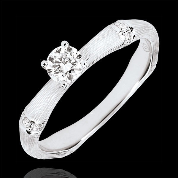 Bague de fiançailles Jungle Sacrée - diamant 0.2 carat - or blanc brossé 9 carats