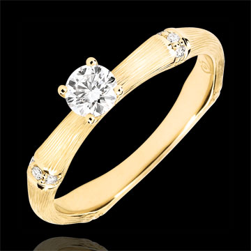 Bague de fiançailles Jungle Sacrée - diamant 0.2 carat - or jaune brossé 18 carats