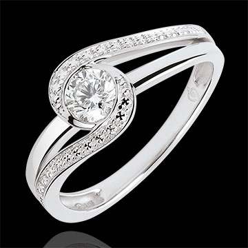 Bague de fiançailles Nid Précieux - Preciosa - diamant 0.3 carat - or blanc 9 carats