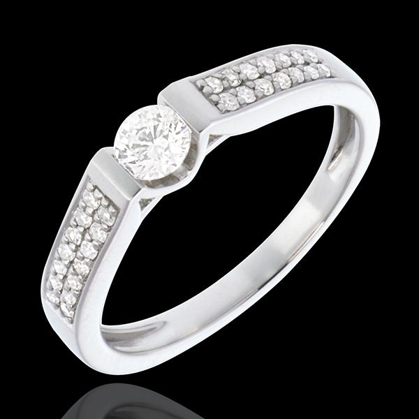 Bague de Fiançailles Or Blanc Solitaire Arche pavée - 0.38 carats - 29 diamants - or blanc 18 carats