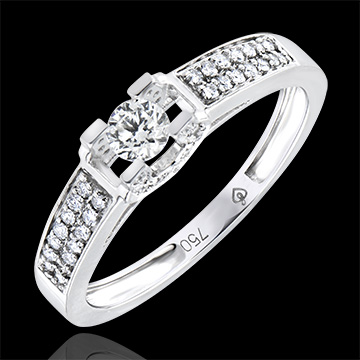 Bague de Fiançailles Origine - Déesse - or blanc 9 carats et diamants