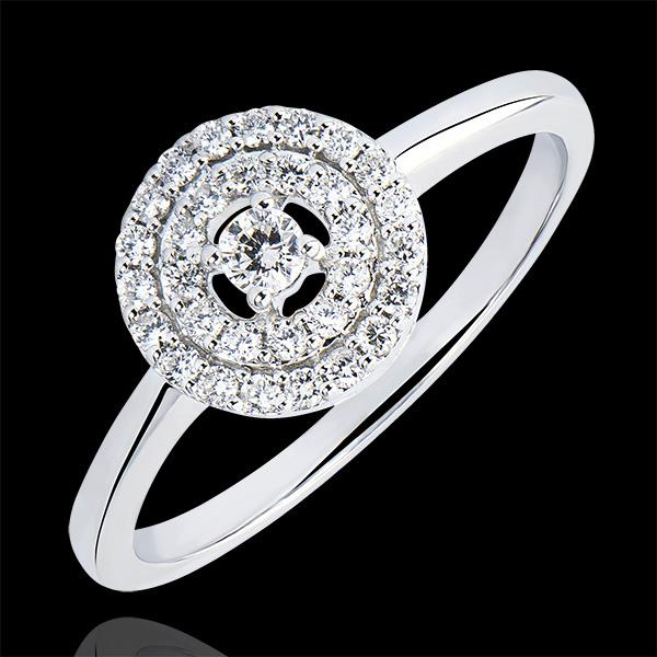 Bague de Fiançailles Origine - Double Halo - or blanc 9 carats et diamants