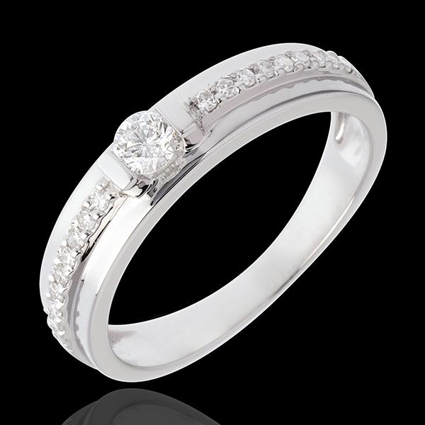 Bague de Fiançailles Solitaire Destinée - Eugénie - diamant 0.26 carat - or blanc 18 carats