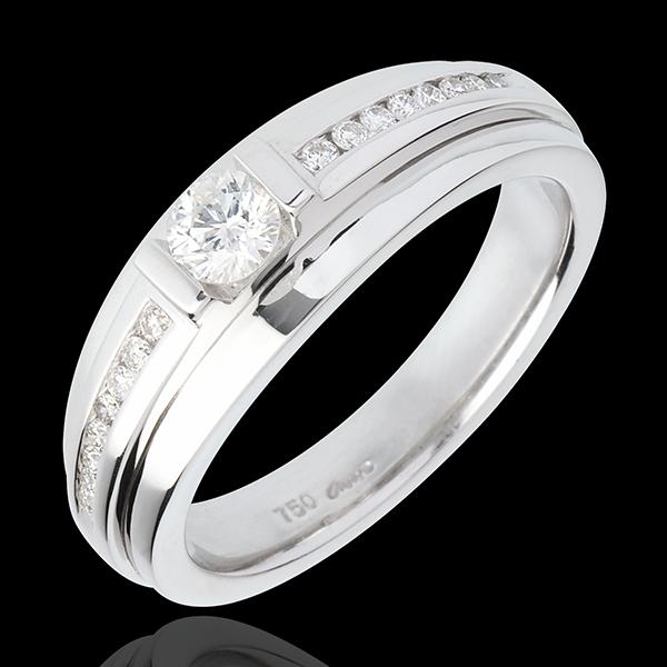 Bague de Fiançailles Solitaire Destinée - Eugénie variation - diamant 0.22 carat - or blanc 18 carats