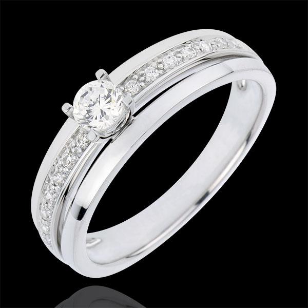 Bague de Fiançailles Solitaire Destinée - Ma Reine - Petit Modèle - or blanc 18 carats - diamant 0.20 carat
