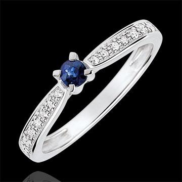 Bague de Fiançailles solitaire Garlane 4 griffes - saphir 0.14 carat et diamants - or blanc 18 carats