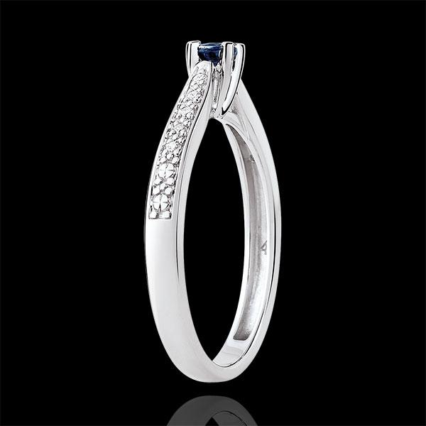 Bague de Fiançailles solitaire Garlane 4 griffes - saphir 0.14 carat et diamants - or blanc 9 carats