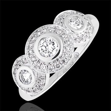 Bague de fiançailles - Trianon - or blanc 9 carats et diamants