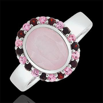 Bague Fleur d'eden Rose - Argent et pierres fines
