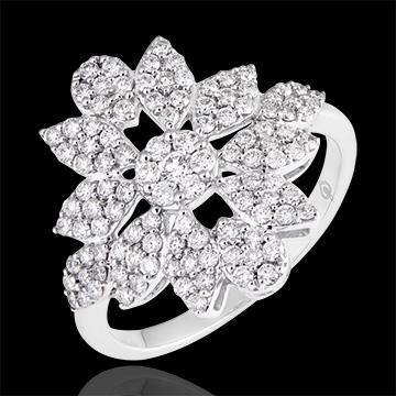 Bague Fleur de l'Hiver - or blanc 9 carats et diamants