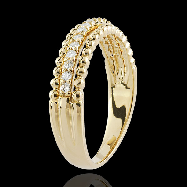 Bague Fleur de Sel - deux anneaux - or jaune 9 carats