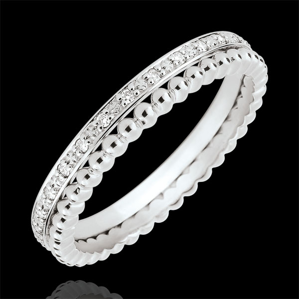 Bague Fleur de Sel - double rang - diamants - or blanc 9 carats