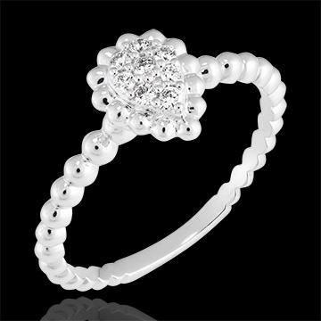 Bague Fleur de Sel - Larme perlée - or blanc 9 carats et diamants