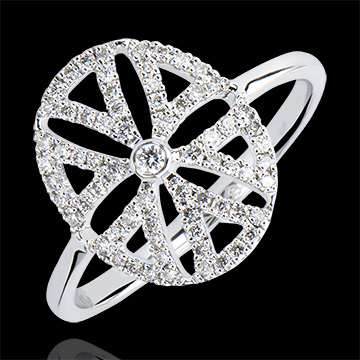 Bague Fraicheur - Arabesque variation - or blanc 9 carats et diamants