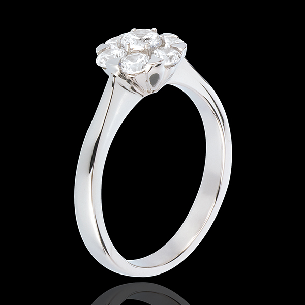 Bague Fraicheur - Magnolia - or blanc 18 carats - 0.88 carat - 7 diamants
