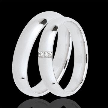 duo d 39 alliances extra 3 diamants bijoux edenly. Black Bedroom Furniture Sets. Home Design Ideas