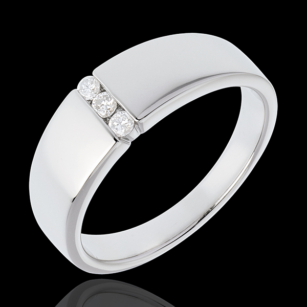 Bague Infini - Trilogie étreinte - or blanc 18 carats - 3 diamants
