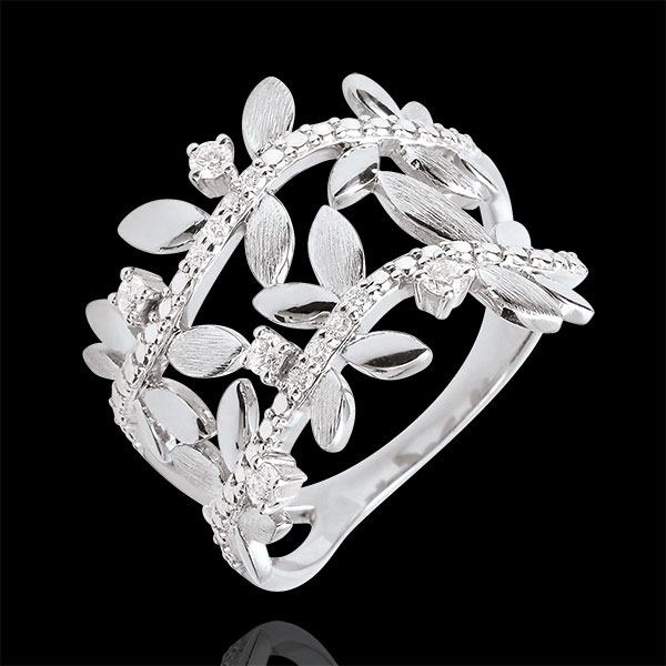 Bague Jardin Enchanté - Feuillage Royal Double - diamants et or blanc 18 carats