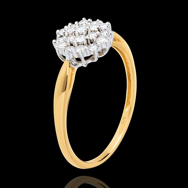 Bague Kaléidoscope pavée diamants - 0.35 carats - 19 diamants - or blanc et or jaune 18 carats