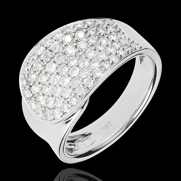 Bague Langue de Diamants - or blanc 18 carats