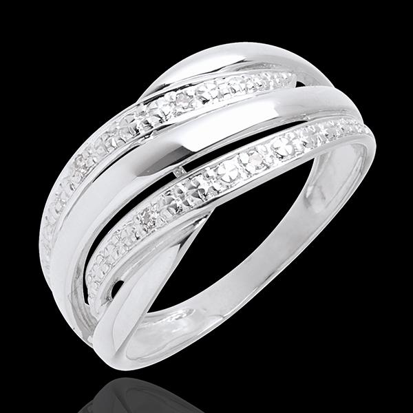 Bague naja or blanc 18 carats pavée diamants - 4 diamants