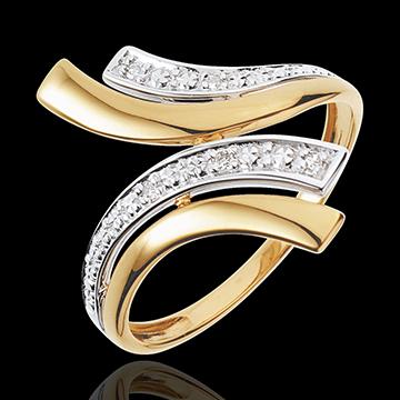 Bague Nefertiti - 5 diamants - or blanc et or jaune 18 carats