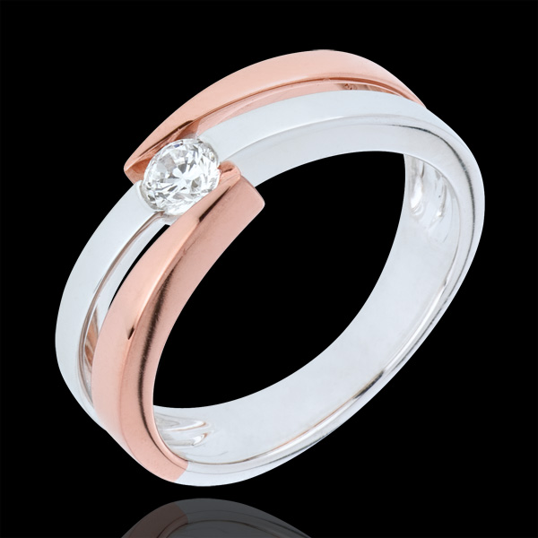 Bague Nid Précieux - solitaire anneaux - 0.18 carat - or 9 carats