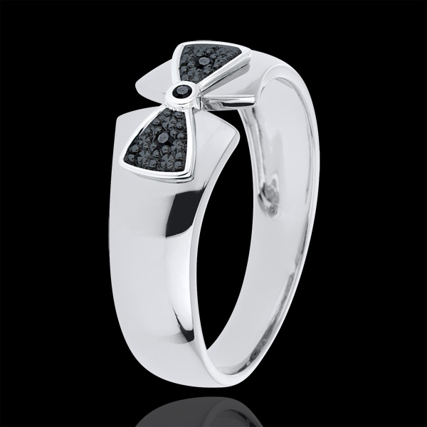Bague Noeud Amélia or blanc 9 carats et diamants noirs