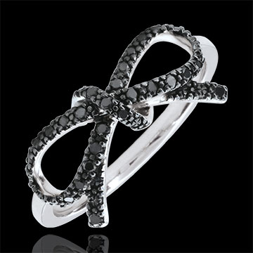 Bague Noeud Finesse diamants noirs - Argent et diamants