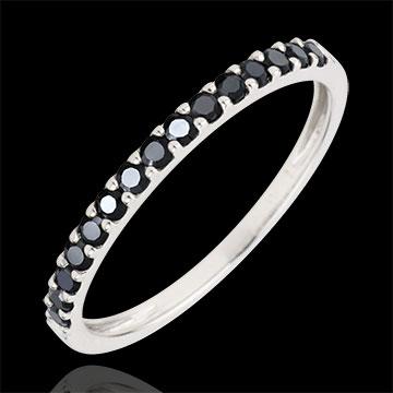 Bague Oiseau de Paradis - un rang - or blanc 9 carats et diamants noirs