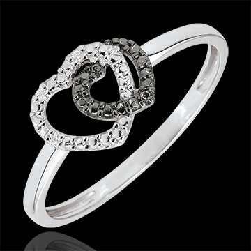 Bague or blanc 9 carats diamants blancs et diamants noirs - Coeurs Complices