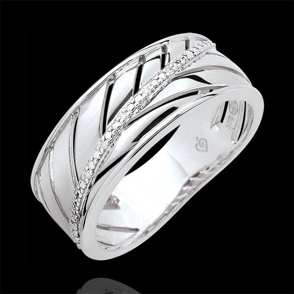 Bague Palme - or blanc 9 carats et diamants