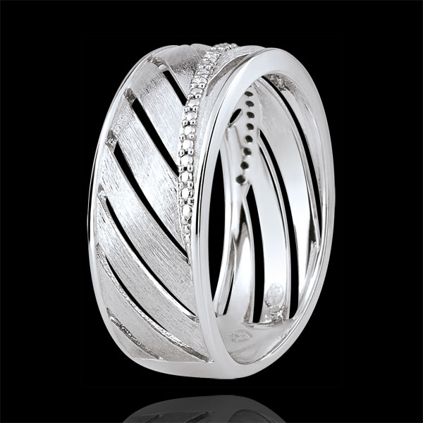 Bague Palme - or blanc brossé 18 carats et diamants