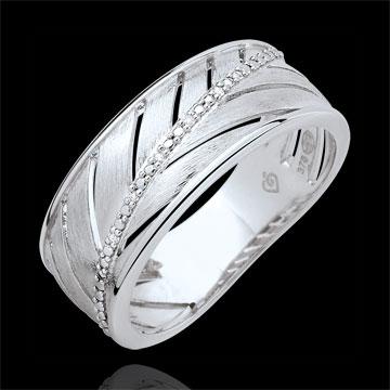 Bague Palme - or blanc brossé 9 carats et diamants