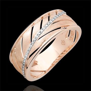 Bague Palme - or rose brossé 18 carats et diamants