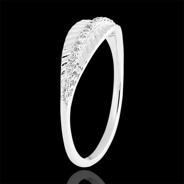 Bague Palme royale - or blanc 9 carats et diamants